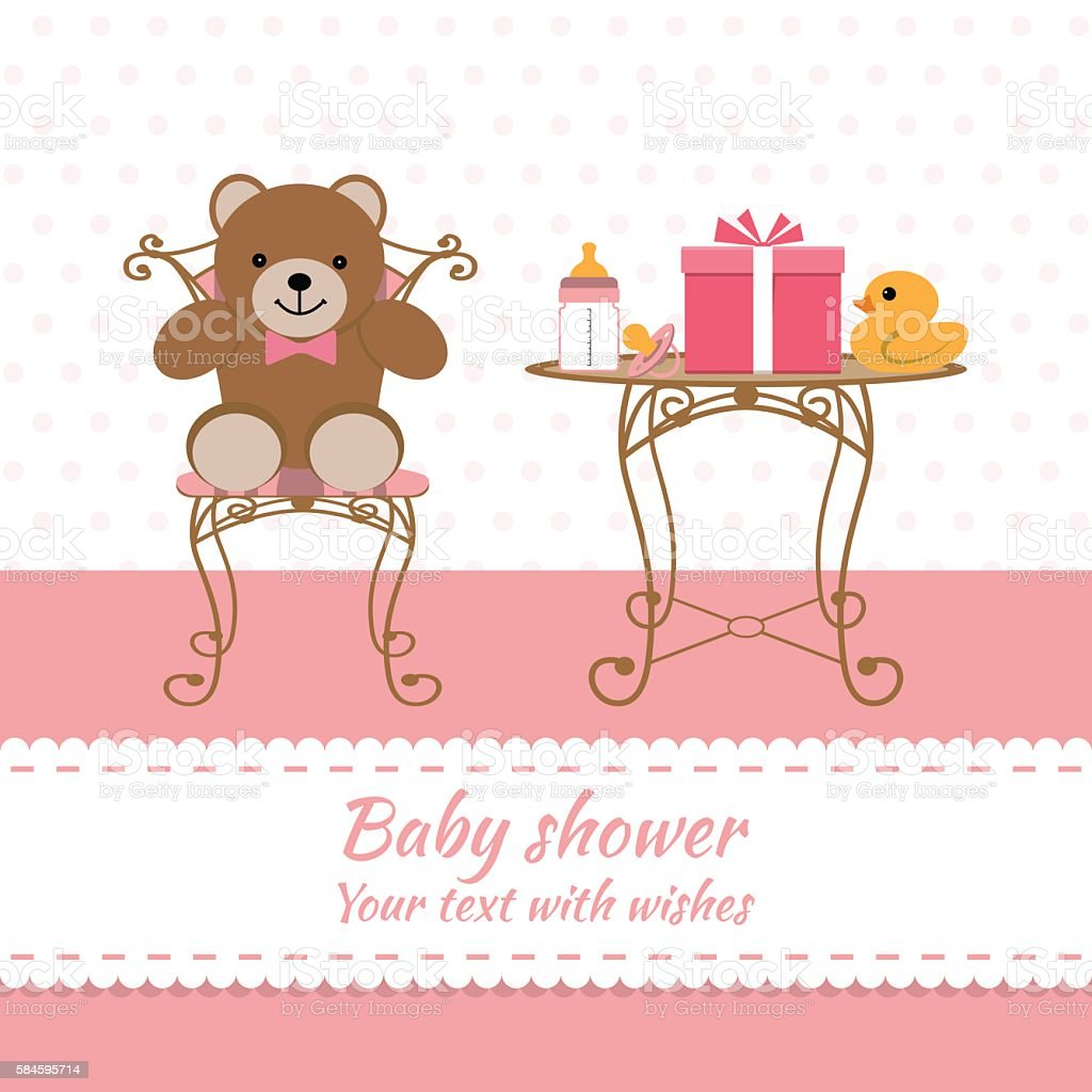 Baby Girl Greeting Card Baby Shower Cliparts Vectoriels Et Plus D