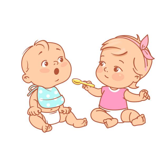 女の赤ちゃんはスプーンを保持し、友人に食べ物を与えます。 - ベビーフード点のイラスト素材/クリップアート素材/マンガ素材/アイコン素材