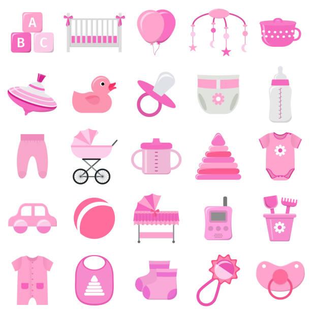 ilustrações, clipart, desenhos animados e ícones de conjunto de ícones do bebê menina. ilustração em vetor. - mobile