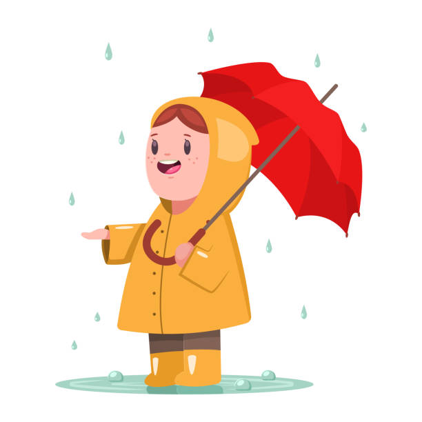 baby girl in a yellow raincoat and rubber boots is standing with an umbrella in a puddle. cute child character vector cartoon illustration isolated on white background. - kids playing in rain stock illustrations, clip art, cartoons, & icons