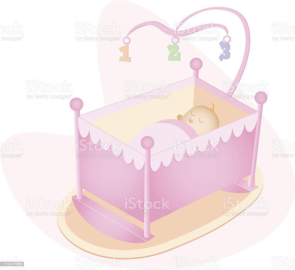 Baby Girl in Crib vector art illustration