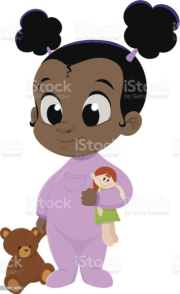 Baby Girl in Pink Pajamas royalty-free stock vector art