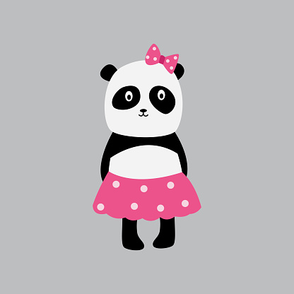 Baby girl panda sticker or fashion patch, cartoon vector illustration isolated.