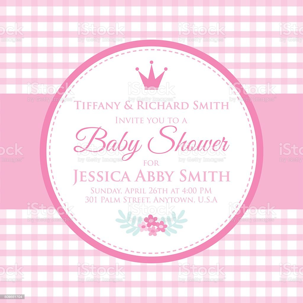 Baby Girl Party Invitation Stock Vector Art & More Images of ...