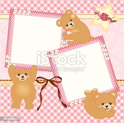 Baby Girl Photo Frame With Teddy Bear Stock Vector Art & More Images ...