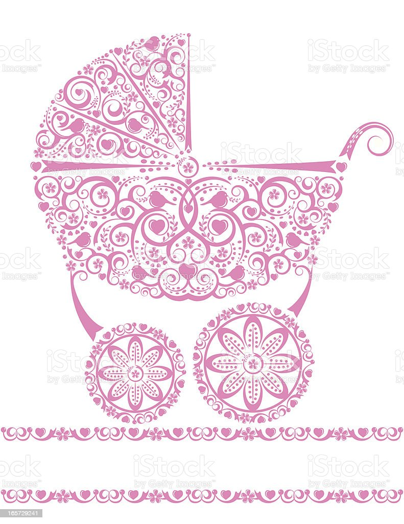 Baby Girl Pink Carriage vector art illustration
