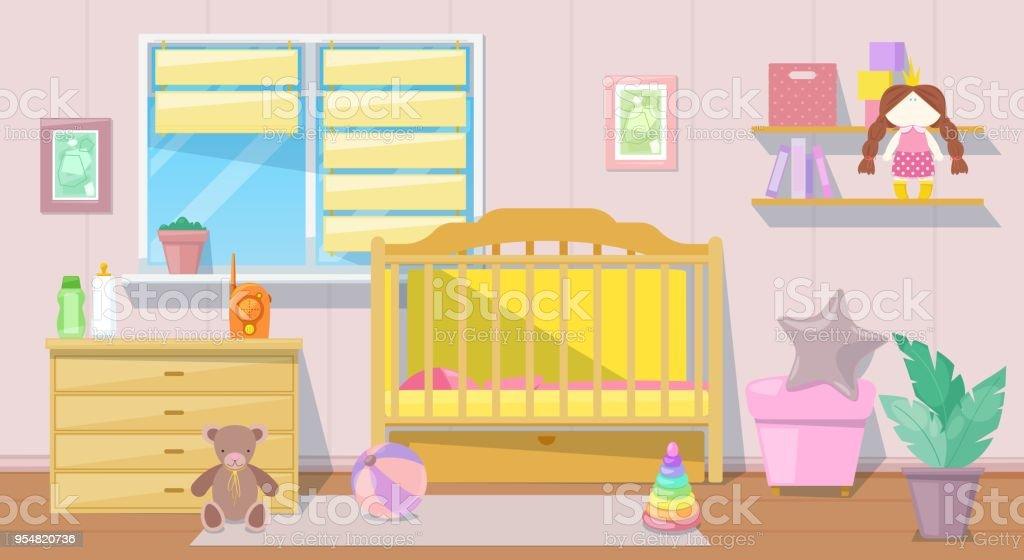 B b fille rose chambre int rieure vector illustration de - Dibujos habitacion bebe ...