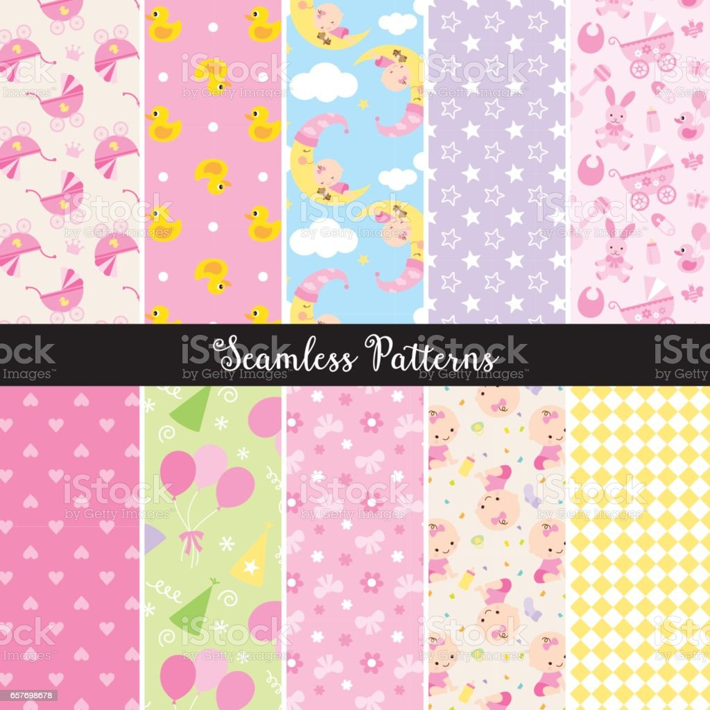 Baby Girl Seamless Pattern vector art illustration