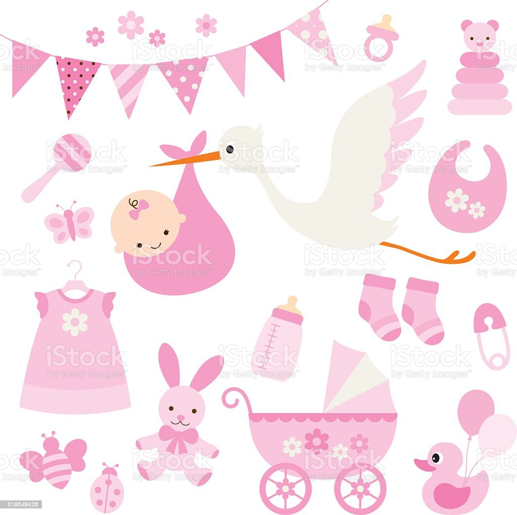 Baby Girl Shower and Baby Items vector art illustration