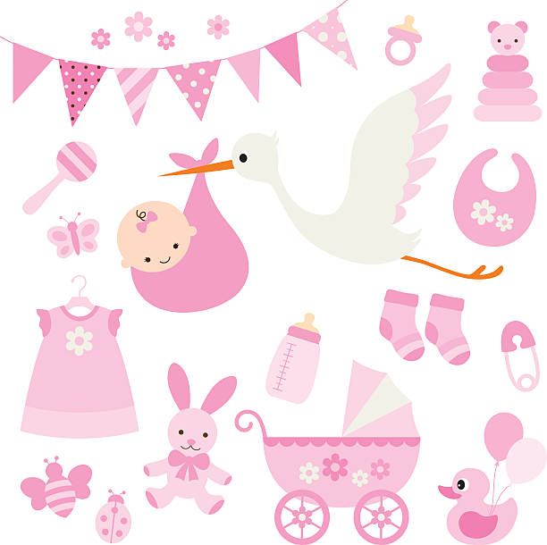 Baby Girl Shower and Baby Items Vector illustration for baby girl shower and baby items. girls stock illustrations