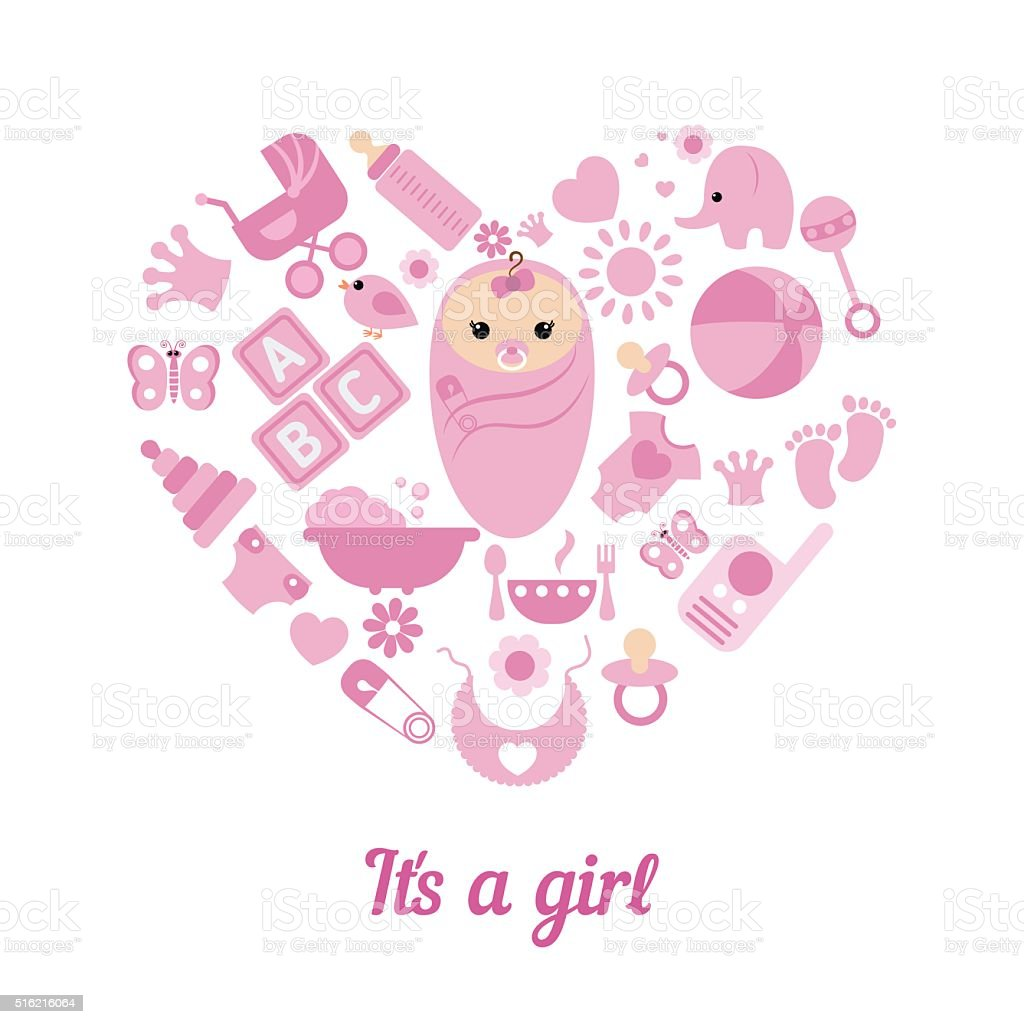 Baby Girl Shower Background Stock Vector Art & More Images of ...