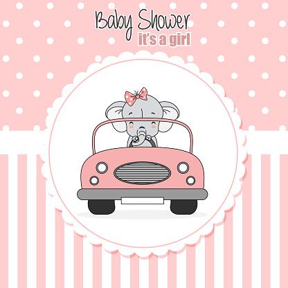 baby girl shower card. Elephant driven a car