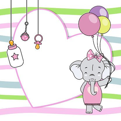 Baby girl shower card. Elephant with balloons. Space for text