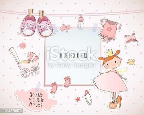 istock Baby girl shower card. Little princess. Arrival card with place for your photo. 1045278972