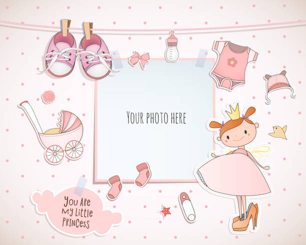 Baby girl shower card. Little princess. Arrival card with place for your photo. Baby girl shower card. Little princess. Arrival card with place for your photo. baby clothing stock illustrations