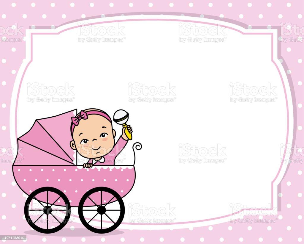 Baby Shower Karte Text.Baby Girl Shower Card Stock Illustration Download Image
