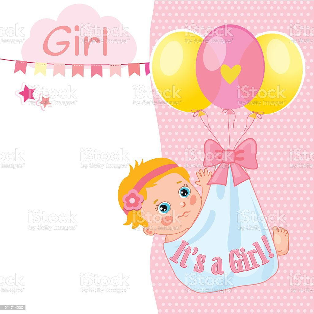 baby template girl card announcement Girl Card Baby Shower Card Illustration Vector Template
