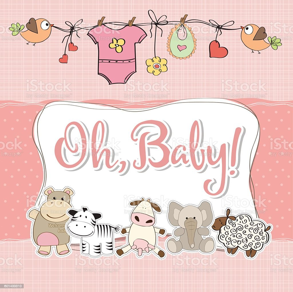 baby girl shower card with animals vector art illustration