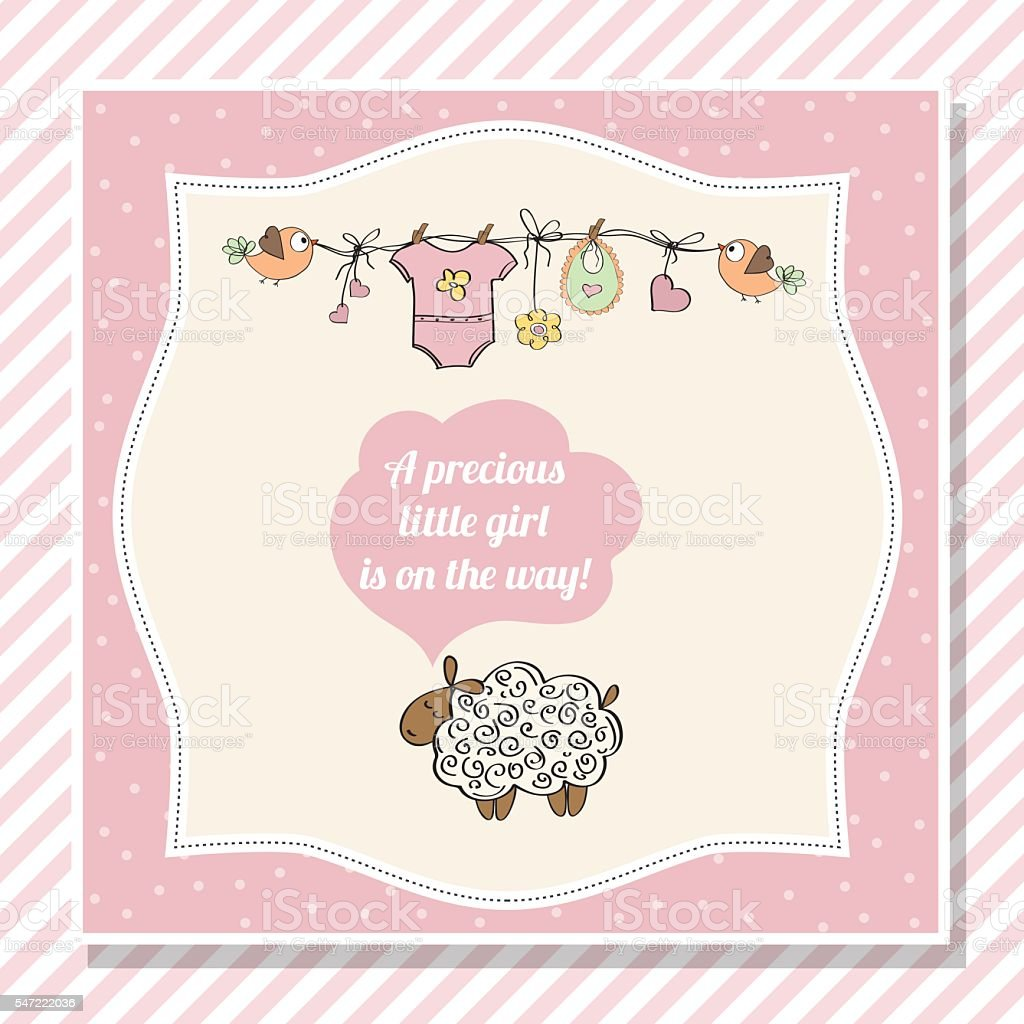 baby girl shower card with little sheep vector art illustration