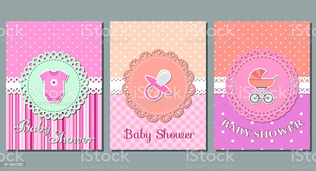 Baby girl shower cards. Vector. vector art illustration