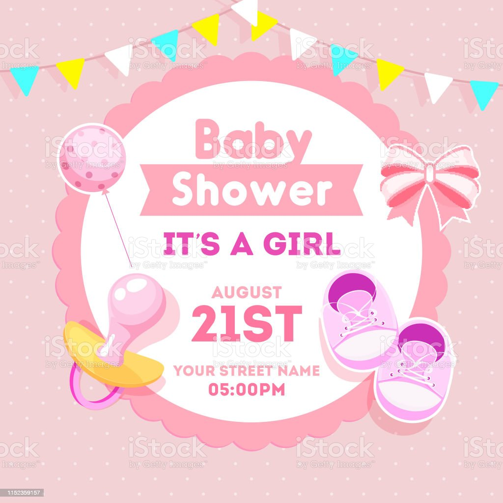 Baby Girl Shower Invitation Card Design With Sticker Style