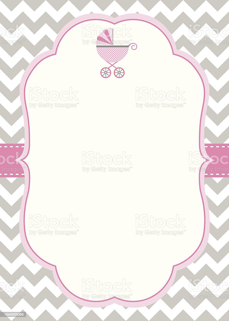Baby Girl Shower Invitation Template vector art illustration