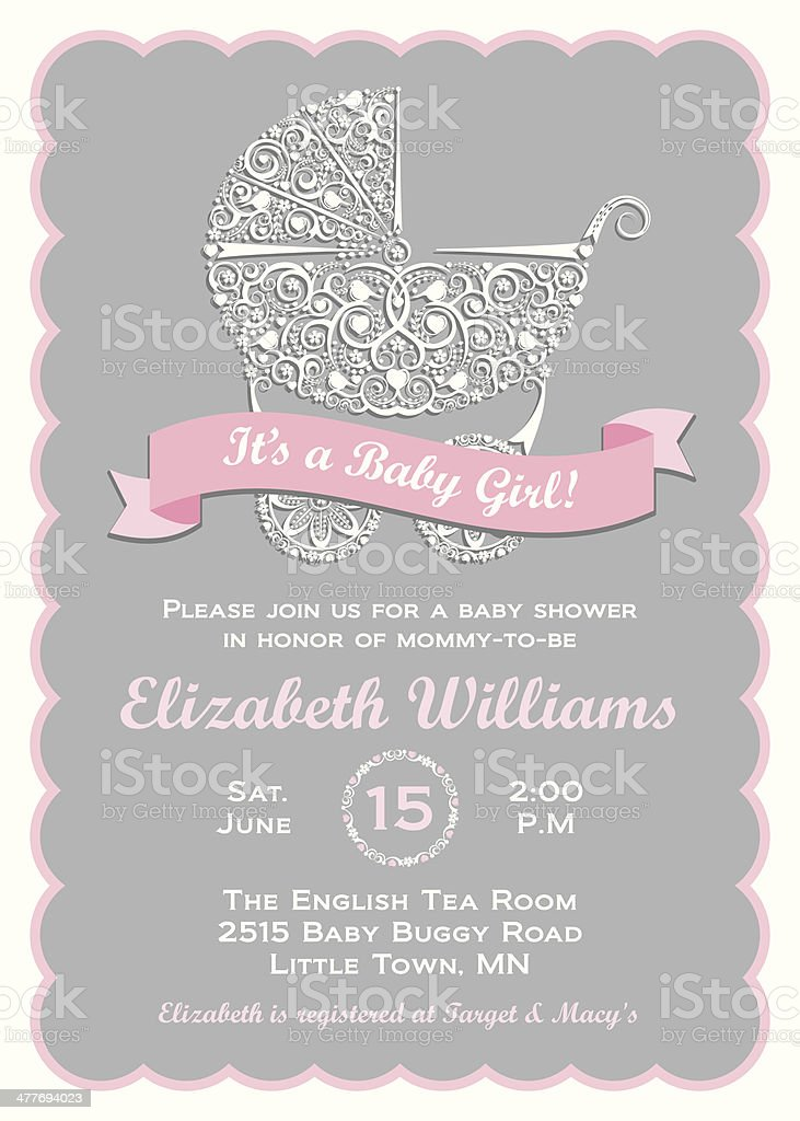 Baby Girl Shower Invitation vector art illustration