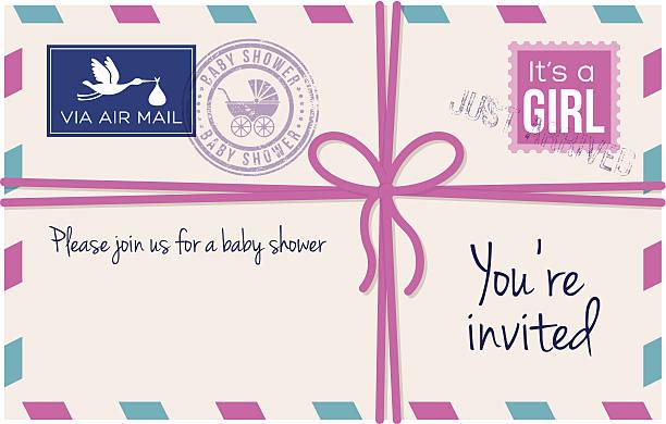 Baby girl shower invotation letter Baby girl shower invotation letter. it's a girl stock illustrations