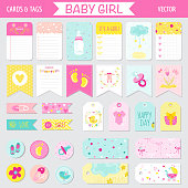 Baby Girl Shower Set - Tags, Banners, Labels, Cards