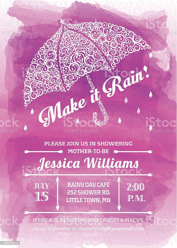 Baby Girl Shower Umbrella Invitation vector art illustration