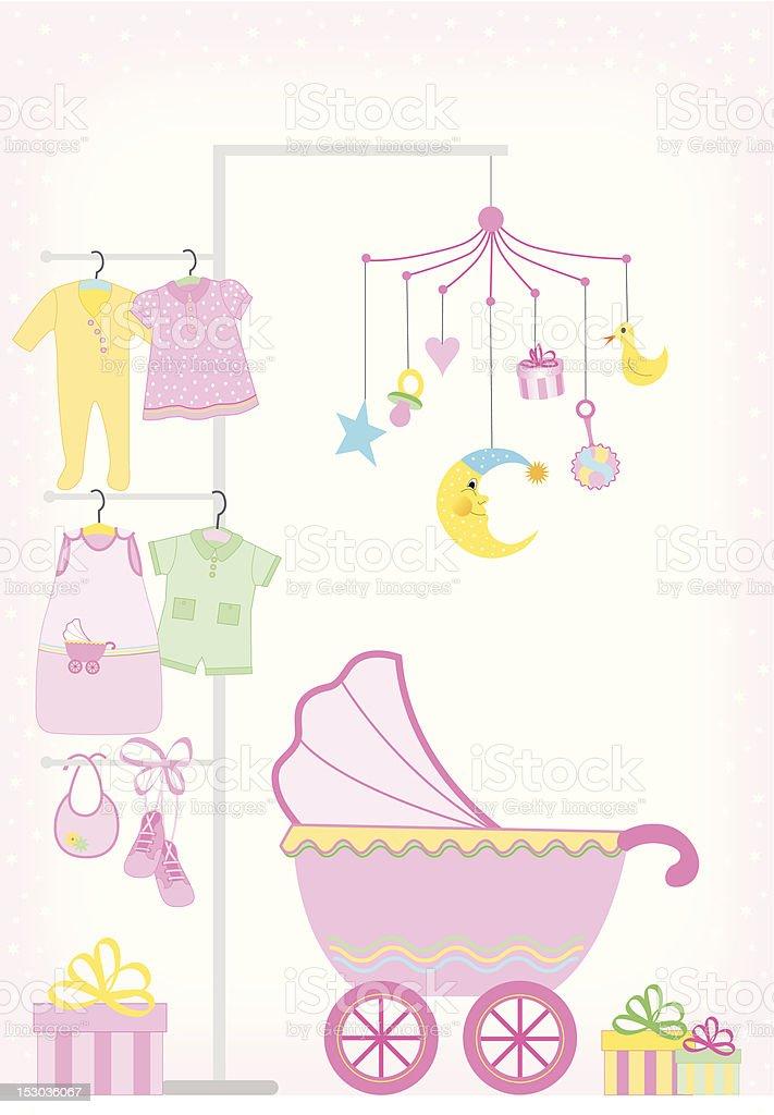 Baby girl showers royalty-free stock vector art