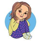Baby girl sitting, hugging her legs, preschooler, bright color. Vector drawing