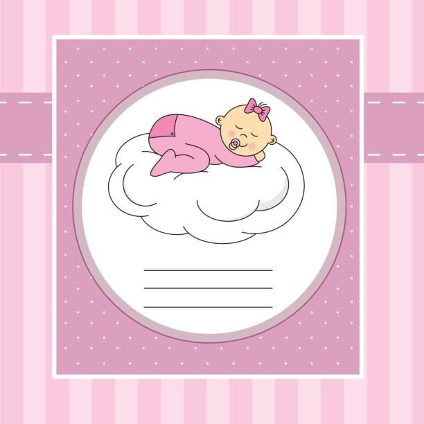baby girl sleeping on a cloud vector art illustration