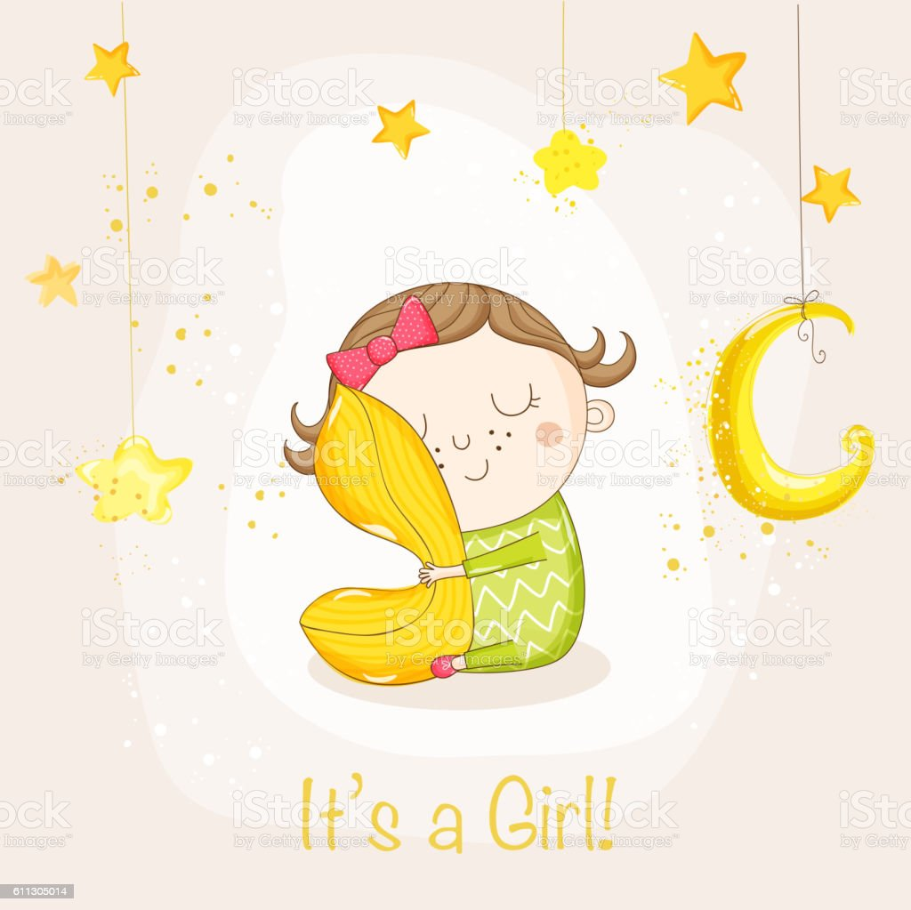 Baby Girl Sleeping With A Pillow Baby Shower Card Stock Vector Art