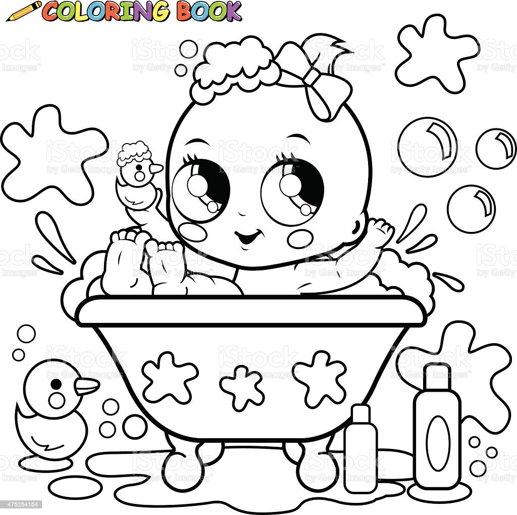 Baby Girl Taking A Bath Coloring Page Stock Vector Art & More Images ...