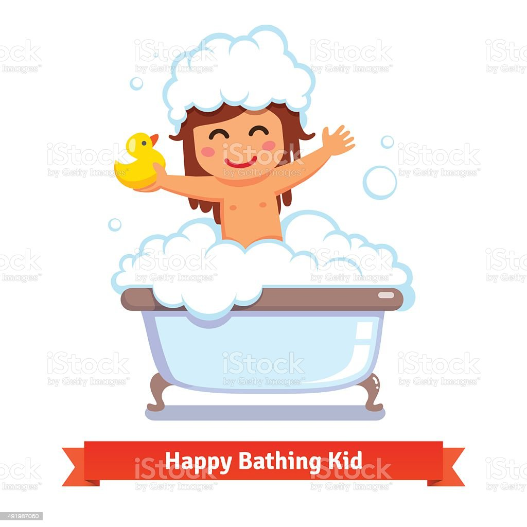 Baby girl taking bath with duck toy and bubbles vector art illustration