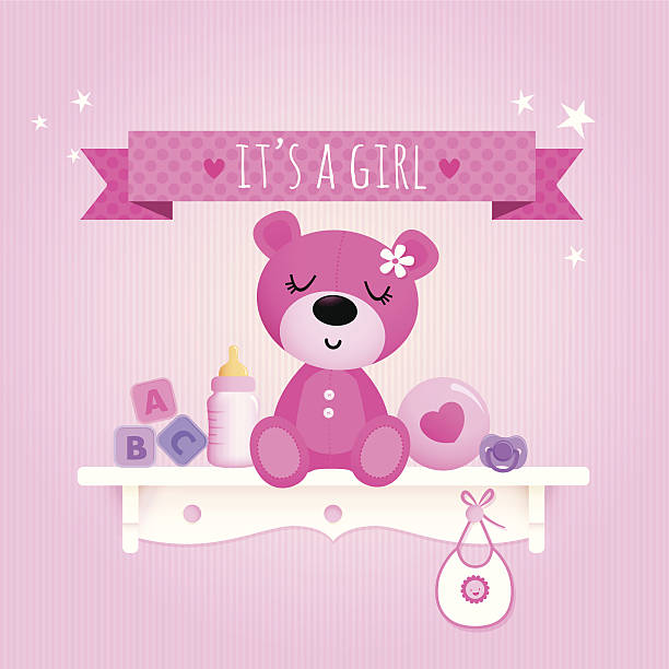 Baby girl teddy EPS 10 file, some transparencies. All elements are grouped and layered. it's a girl stock illustrations