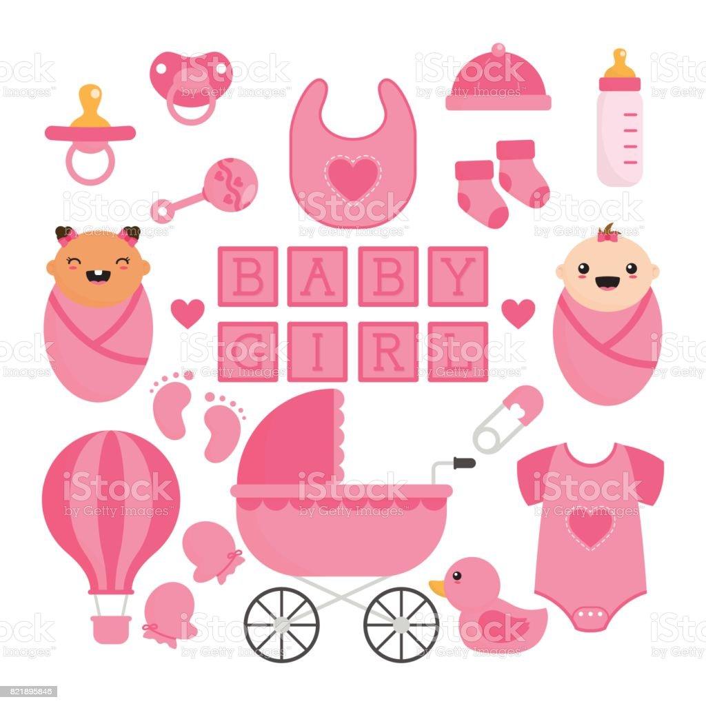 Bébé fille choses Collection - Illustration vectorielle