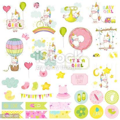 Baby Girl Unicorn Scrapbook Set. Vector Scrapbooking. Decorative Elements