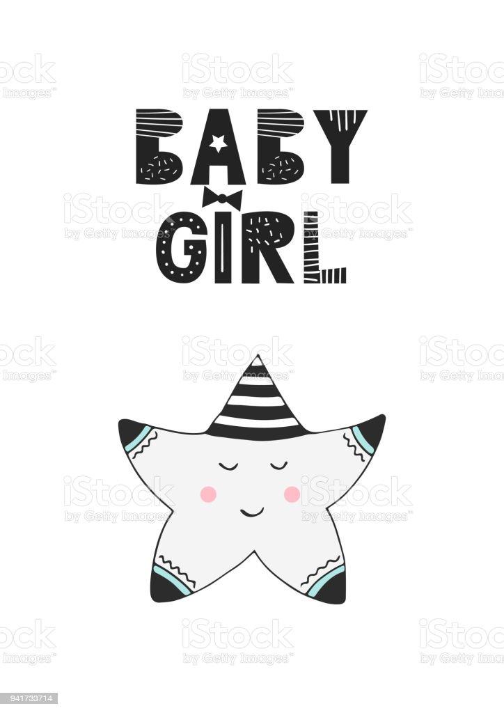 Babymädchen Einzigartige Hand Gezeichnete Kinderzimmer Poster Mit ...