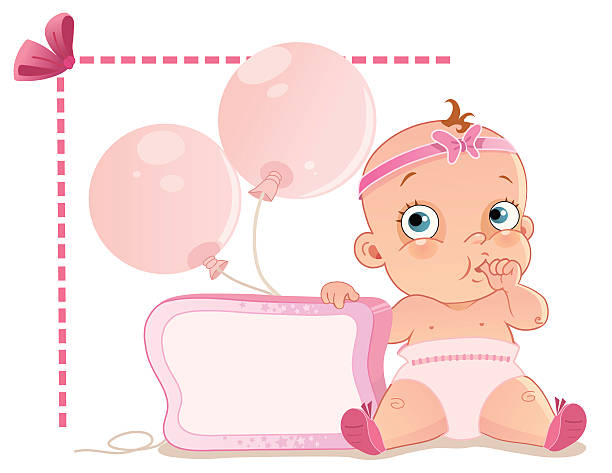 Baby Girl A cute baby girl sucking her thumb while sitting with balloons and the frame. it's a girl stock illustrations