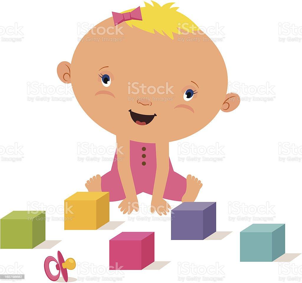 Baby girl with blocks royalty-free stock vector art