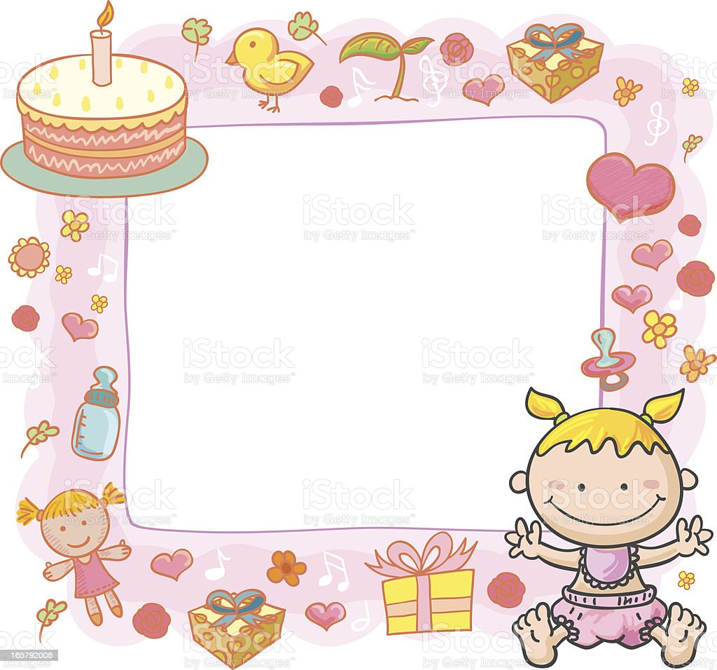 Baby Girl With Ornate Frame Stock Vector Art & More Images of Animal ...