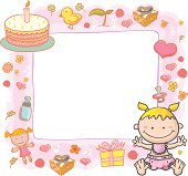 Baby GIrl with ornate frame in colourful cartoon style