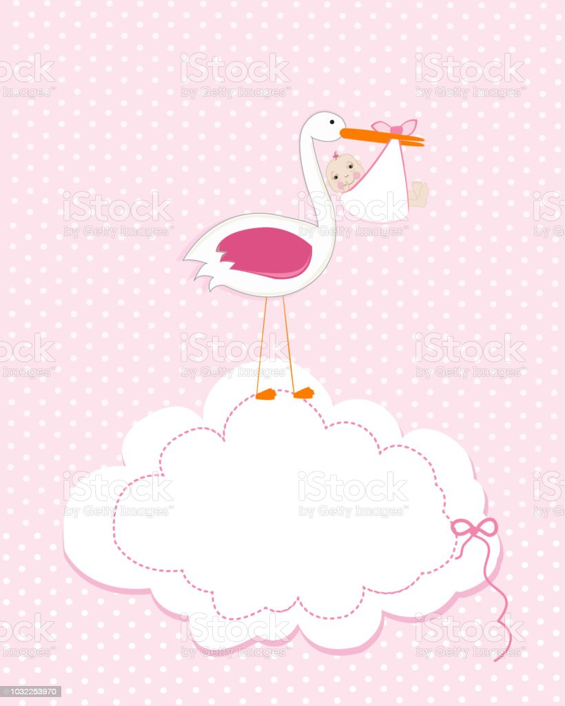 Baby girl with stork baby arrival greeting card baby shower baby girl with stork baby arrival greeting card baby shower invitation newborn baby royalty m4hsunfo
