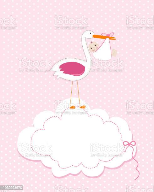 Baby girl with stork baby arrival greeting card baby shower newborn vector id1032253970?b=1&k=6&m=1032253970&s=612x612&h=xl3tguinvinpa0evn4z9pcbjq9dnyc4pejl2otts94g=