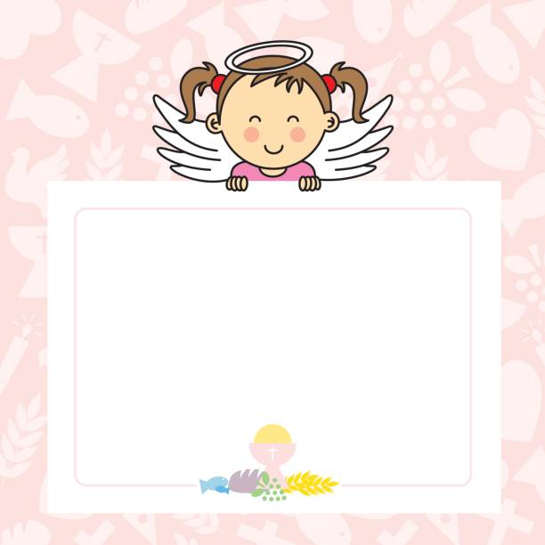 baby girl with wings - baptism stock illustrations, clip art, cartoons, & icons