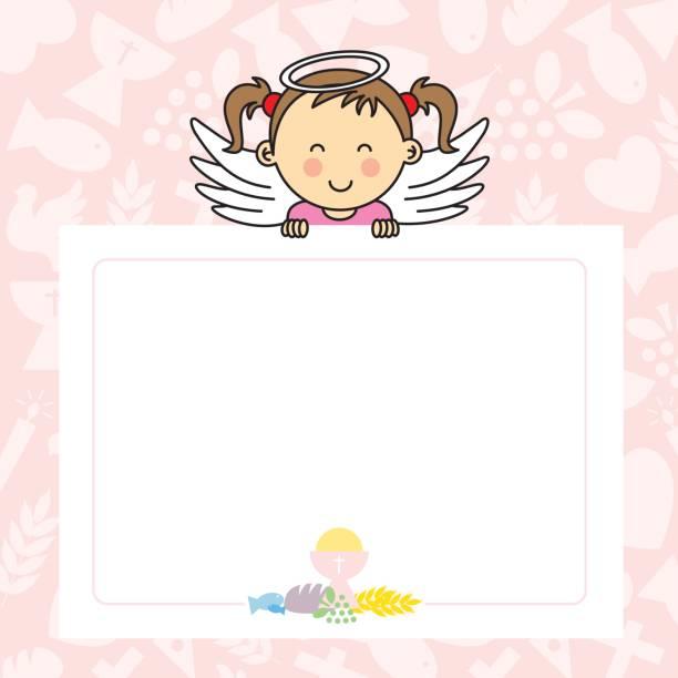 Baby girl with wings - ilustração de arte vetorial