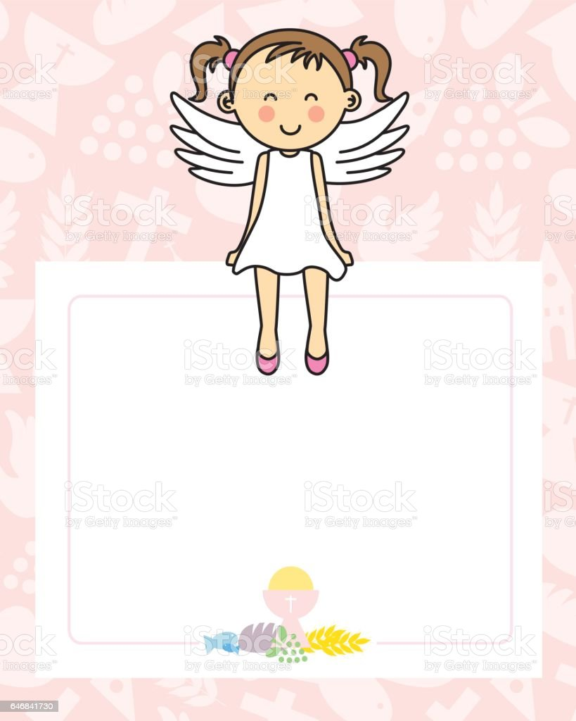 Baby girl with wings vector art illustration
