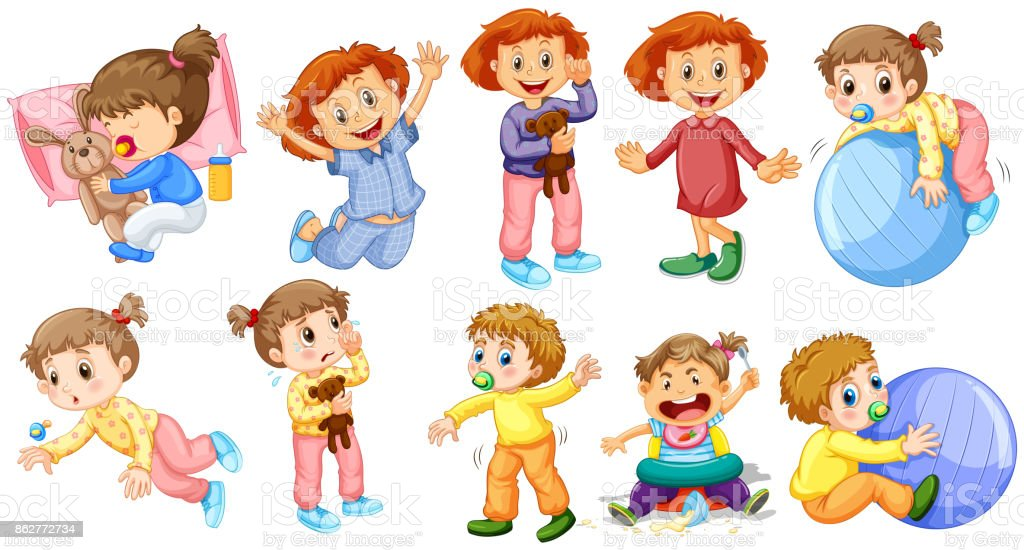 Baby girls and boys doing different activities vector art illustration